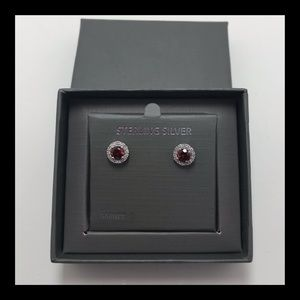 🆕 Lovely Garnet & CZ Sterling Silver Earrings